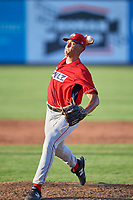 Ethan Clark (34) of the Orem Owlz delivers a pitch to the plate against the Ogden Raptors at Lindquist Field on July 27, 2019 in Ogden, Utah. The Raptors defeated the Owlz 14-1. (Stephen Smith/Four Seam Images)