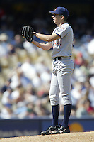 Oliver Perez of the San Diego Padres pitches during a 2002 MLB season game against the Los Angeles Dodgers at Dodger Stadium, in Los Angeles, California. (Larry Goren/Four Seam Images)