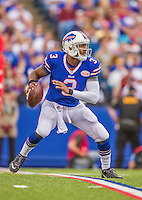 21 September 2014: Buffalo Bills quarterback EJ Manuel looks downfield for a receiver against the San Diego Chargers in the first quarter at Ralph Wilson Stadium in Orchard Park, NY. The Chargers defeated the Bills 22-10 in AFC play. Mandatory Credit: Ed Wolfstein Photo *** RAW (NEF) Image File Available ***