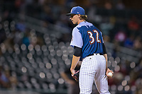 Queen City Knights starting pitcher Michael Kopech (32) looks to his catcher for the sign against the Norfolk Tides at BB&T BallPark on September 1, 2017 in Charlotte, North Carolina.  (Brian Westerholt/Four Seam Images)