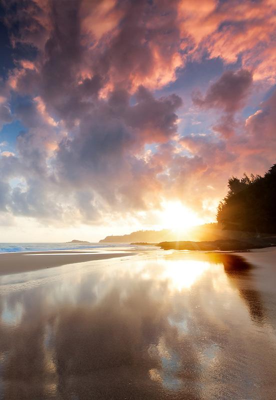 Sunrise at low tide at Secret Beach. Kauai, Hawaii.