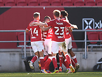 27th September 2020; Ashton Gate Stadium, Bristol, England; English Football League Championship Football, Bristol City versus Sheffield Wednesday;  Jamie Paterson of Bristol City celebrates with his team after scoring in 90th minute for 2-0