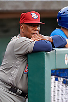 Lehigh Valley IronPigs manager Gary Jones (11) in the dugout during a game against the Buffalo Bisons on June 23, 2018 at Coca-Cola Field in Buffalo, New York.  Lehigh Valley defeated Buffalo 4-1.  (Mike Janes/Four Seam Images)