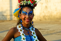 A Colombian girl, wearing a colorful costume and make-up, dances during the Carnival in Barranquilla, Colombia, 25 February 2006. The Carnival of Barranquilla is a unique festivity which takes place every year during February or March on the Caribbean coast of Colombia. A colourful mixture of the ancient African tribal dances and the Spanish music influence - cumbia, porro, mapale, puya, congo among others - hit for five days nearly all central streets of Barranquilla. Those traditions kept for centuries by Black African slaves have had the great impact on Colombian culture and Colombian society. In November 2003 the Carnival of Barranquilla was proclaimed as the Masterpiece of the Oral and Intangible Heritage of Humanity by UNESCO.