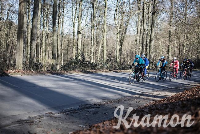 Truls Korsaeth (NOR/Astana) leading the early break away group up on 'La Houppe'.<br /> <br /> 70th Kuurne-Brussel-Kuurne 2018 (1.HC)