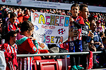 Two little soccer fans show their supports to Fernando Pacheco Flores of Deportivo Alaves during the La Liga 2018-19 match between Atletico de Madrid and Deportivo Alaves at Wanda Metropolitano on December 08 2018 in Madrid, Spain. Photo by Diego Souto / Power Sport Images