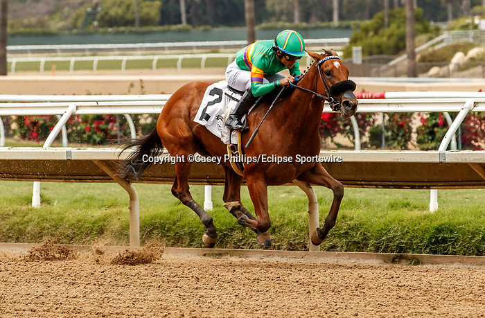 DEL MAR, CA  AUGUST 21: First race and #2 Ain't Easy, ridden by Joel Rosario and trained by Phil D'Amato leads in the stretch on August 21, 2021 at Del Mar Thoroughbred Club in Del Mar, CA.  (Photo by Casey Phillips/Eclipse Sportswire/CSM)