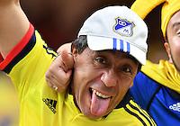 Colombia fans cheer before Copa America Centenario group A match, Saturday, June 11, 2016 in Houston, Tex. Costa Rica won 3-2. (TFV Media via AP) *Mandatory Credit*