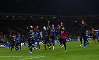 Calcio, Serie A: Inter Milano - Hellas Verona, Giuseppe Meazza stadium, November 9, 2019.<br /> Inter's players celebrate after winning 2-1  the Italian Serie A football match between Inter and Hellas Verona at Giuseppe Meazza (San Siro) stadium, on November 9, 2019.<br /> UPDATE IMAGES PRESS/Isabella Bonotto