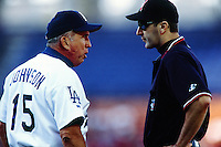 Los Angeles Dodgers Manager Davey Johnson during a game at Dodger Stadium circa 1999 in Los Angeles, California. (Larry Goren/Four Seam Images)