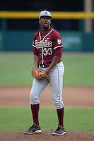 Florida State Seminoles designated hitter / relief pitcher Jameis Winston (44) during a game against the South Florida Bulls on March 5, 2014 at Red McEwen Field in Tampa, Florida.  Florida State defeated South Florida 4-1.  (Mike Janes/Four Seam Images)
