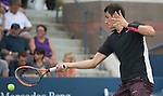 Bernard Tomic (AUS) takes the first set against Lleyton Hewitt (AUS 6-3 at the US Open in Flushing, NY on September 3, 2015.