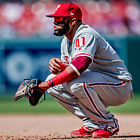 23 August 2018: Philadelphia Phillies first baseman Carlos Santana squats at first during a game against the Washington Nationals at Nationals Park in Washington, DC. The Phillies shut out the Nationals 2-0 to take the 3rd game of their 3-game mid-week divisional series. Mandatory Credit: Ed Wolfstein Photo *** RAW (NEF) Image File Available ***