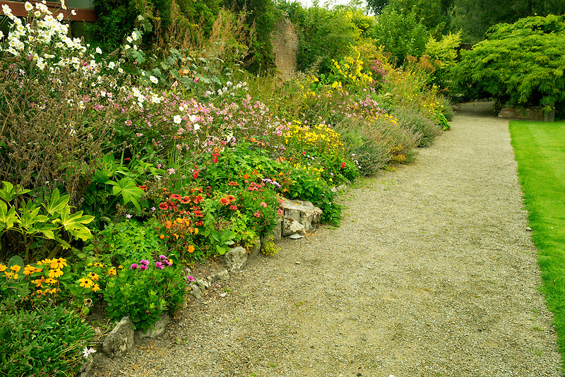 Garden pathway. Gardens at Domoland Castle, Ireland