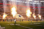 The Dallas Cowboys stadium blows off some fireworks before the pre-season game between the Baltimore Ravens and the Dallas Cowboys at the AT & T stadium in Arlington, Texas. Baltimore defeats Dallas  37-30.