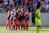 Houston, TX - Sunday Oct. 09, 2016: Crystal Dunn celebrates scoring, Christine Nairn, Shelina Zardorsky during the National Women's Soccer League (NWSL) Championship match between the Washington Spirit and the Western New York Flash at BBVA Compass Stadium. The Western New York Flash win 3-2 on penalty kicks after playing to a 2-2 tie.