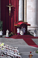 Pope Francis leads a mass for the canonization of 35 new saints on October 15, 2017 at St Peter's square. Pope Francis celebrates a Holy Mass today with canonizations of 35 new saints, including thirty martyrs murdered in Brazil in the 17th century by Dutch Calvinists, three Mexican teenagers who died in the 16th century, and Italian Capuchin Angelo d'Acri and the Spanish priest Faustino of the Incarnation.