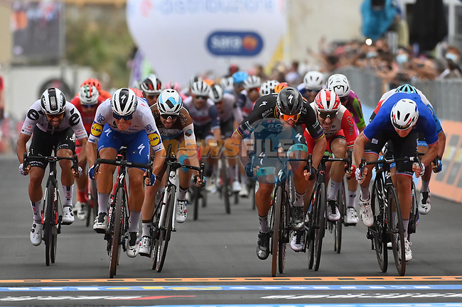 Photo finish between French Champion Arnaud Demare (FRA) Groupama-FDJ, Peter Sagan (SVK) Bora-Hansgrohe and Davide Ballerini (ITA) Deceuninck-Quick Step at the end of Stage 4 of the 103rd edition of the Giro d'Italia 2020 running 140km from Catania to Villafranca Tirrena, Sicily, Italy. 6th October 2020.  <br /> Picture: LaPresse/Gian Mattia D'Alberto | Cyclefile<br /> <br /> All photos usage must carry mandatory copyright credit (© Cyclefile | LaPresse/Gian Mattia D'Alberto)