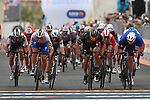 Photo finish between French Champion Arnaud Demare (FRA) Groupama-FDJ, Peter Sagan (SVK) Bora-Hansgrohe and Davide Ballerini (ITA) Deceuninck-Quick Step at the end of Stage 4 of the 103rd edition of the Giro d'Italia 2020 running 140km from Catania to Villafranca Tirrena, Sicily, Italy. 6th October 2020.  <br /> Picture: LaPresse/Gian Mattia D'Alberto   Cyclefile<br /> <br /> All photos usage must carry mandatory copyright credit (© Cyclefile   LaPresse/Gian Mattia D'Alberto)