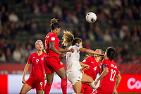 CARSON, CA - FEBRUARY 07: Kadeisha Buchanan #3 of Canada with a head shot during a game between Canada and Costa Rica at Dignity Health Sports Complex on February 07, 2020 in Carson, California.