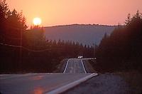 Rural road at sunset<br />