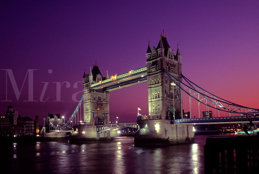 England. London.  Tower Bridge.  Historical landmark on the River Thames near the Tower of London