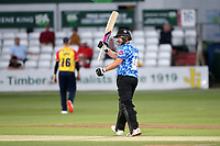 Luke Wright raises his bat to celebrate reaching his fifty for Sussex during Essex Eagles vs Sussex Sharks, Vitality Blast T20 Cricket at The Cloudfm County Ground on 15th June 2021