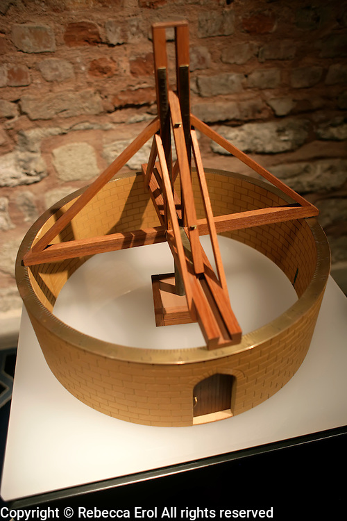 Replica of an instrument for the determination of Sine on a vertical scale at the Museum of the History of Islamic Science and Technology, Istanbul, Turkey. Devised by Mu'aiyadadd in al-'Urdi for the Maraga observatory (ca1265) and made according to the description in the observatory's book
