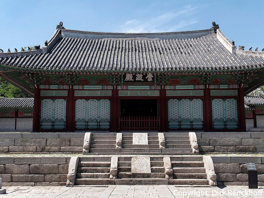 Haupthalle Sungjeongjeon im Gyeonghuigung Palast in Seoul, Südkorea, Asien<br /> Main hall  Sungjeongjeon of palace Gyeonghuigung, Seoul, South Korea, Asia