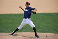 Pitcher Alberto Lamas (14) during the Dominican Prospect League Elite Underclass International Series, powered by Baseball Factory, on August 2, 2017 at Silver Cross Field in Joliet, Illinois.  (Mike Janes/Four Seam Images)
