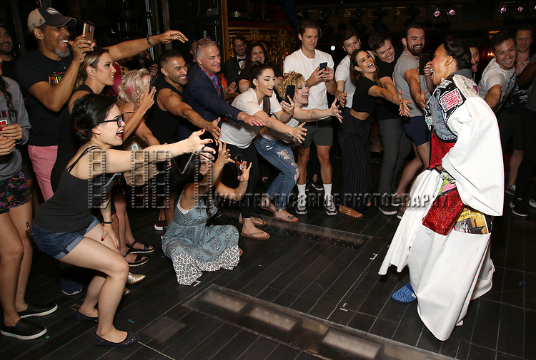 """Bahiyah Hibah and casturing the Broadway Opening Night Legacy Robe Ceremony honoring Bahiyah Hibah for  """"Moulin Rouge! The Musical"""" at the Al Hirschfeld Theatre on July 25,2019 in New York City."""