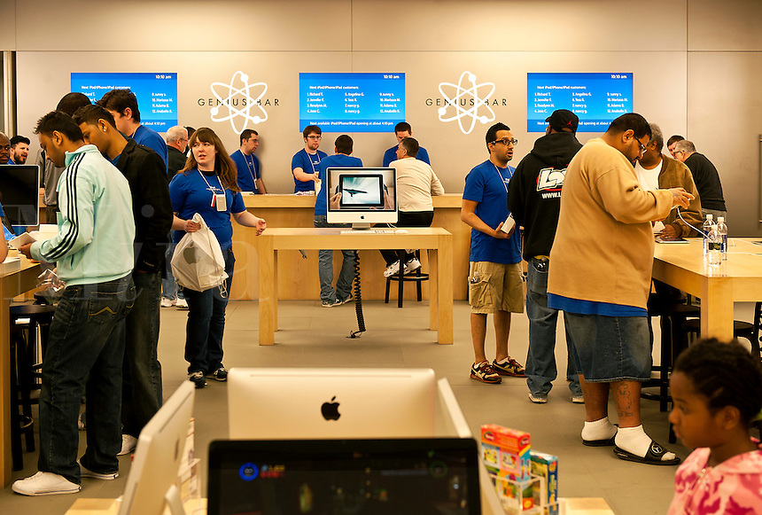 A busy Apple retail store, Cherry Hill, New Jersey, USA