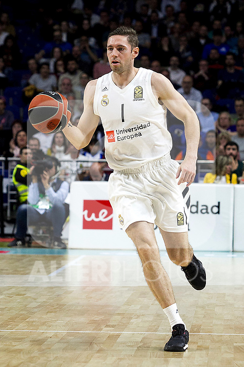 Real Madrid's Fabien Caseur during Euroligue match between Real Madrid and Zalgiris Kaunas at Wizink Center in Madrid, Spain. April 4, 2019.  (ALTERPHOTOS/Alconada)