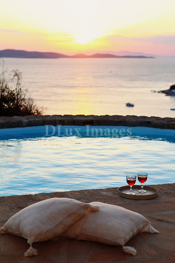 sunset view from the swimming pool