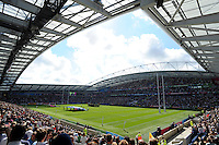 The teams line up for the national anthems during Match 6 of the Rugby World Cup 2015 between Samoa and USA - 20/09/2015 - Brighton Community Stadium, Brighton <br /> Mandatory Credit: Rob Munro/Stewart Communications