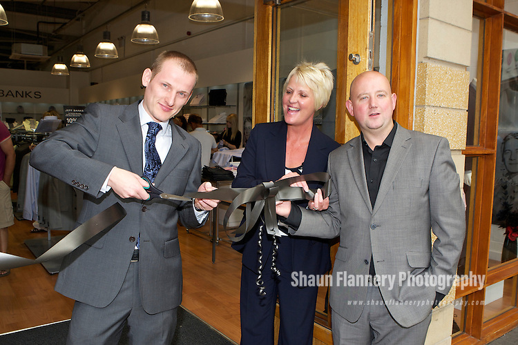 Pix: Shaun Flannery/shaunflanneryphotography.com...COPYRIGHT PICTURE>>SHAUN FLANNERY>01302-570814>>07778315553>>..24th July 2010........Lakeside Village, Doncaster..Opening of the Jeff Banks store..L-R Michael Vernon-Lilley, Store Manager, Cheryl Sadler, Manager of Lakeside Village, Chris Brunskill, Jeff Banks.