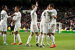 Real Madrid's Gareth Bale, Karim Benzema and Cristiano Ronaldo celebrating a goal during La Liga match. March 20,2016. (ALTERPHOTOS/Borja B.Hojas)