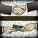 Businessman handing money under table to co-worker