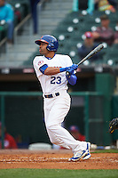 Buffalo Bisons center fielder Dalton Pompey (23) at bat during a game against the Durham Bulls on June 13, 2016 at Coca-Cola Field in Buffalo, New York.  Durham defeated Buffalo 5-0.  (Mike Janes/Four Seam Images)