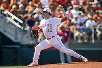 Texas Longhorns starting pitcher Dillon Peters #32 delivers a pitch to the plate against the Oklahoma Sooners in the NCAA baseball game on April 6, 2013 at UFCU DischFalk Field in Austin, Texas. The Longhorns defeated the rival Sooners 1-0. (Andrew Woolley/Four Seam Images).