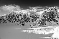 Aerial Winter Black and white landscape of Denali and the Alaska Range and Ruth Glacier.  Winter 2017<br /> <br /> Photo by Jeff Schultz/SchultzPhoto.com  (C) 2017  ALL RIGHTS RESERVED