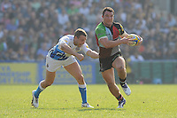 George Lowe of Harlequins goes past Olly Barkley of Bath Rugby during the Aviva Premiership match between Harlequins and Bath Rugby at The Twickenham Stoop on Saturday 24th March 2012 (Photo by Rob Munro)