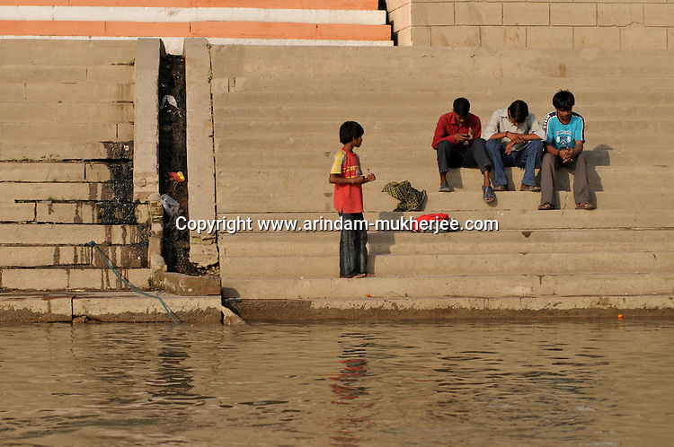 A small residential sewage falling in Ganga at Varanasi. Hundreds of such sewages are presnt in 7 kms stretched ghats of Varanasi.