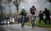 Alex Kirch (LUX/Cult) & Conor Dunne (IRE/AnPost-ChainReaction) leading the race over the Ruidenberg<br /> <br /> Handzame Classic 2015