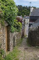 France, Bretagne, (29), Finistère,  Pont-Croix:  Petite Rue Chère, Ruelle  pavée dévalant en escalier vers la rivière,