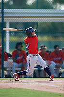 GCL Twins Jeferson Morales (2) bats during a Gulf Coast League game against the GCL Pirates on August 6, 2019 at Pirate City in Bradenton, Florida.  GCL Twins defeated the GCL Pirates 4-2 in the first game of a doubleheader.  (Mike Janes/Four Seam Images)