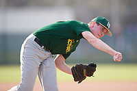 Cole Wedding (20), from Lake Village, Indiana, while playing for the Athletics during the Baseball Factory Pirate City Christmas Camp & Tournament on December 27, 2017 at Pirate City in Bradenton, Florida.  (Mike Janes/Four Seam Images)