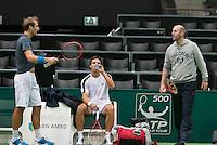 09-02-14, Netherlands,Rotterdam,Ahoy, ABNAMROWTT,  Thiemo de Bakker, Igor Sijsling (M) and his coach Melle van Gemerden<br /> Photo:Tennisimages/Henk Koster