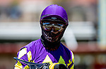 July 10, 2020: Umberto Rispoli wearing facial protection at Del Mar Race Track in Del Mar, California on July 10, 2020. The legendary racetrack dubbed Where The Surf Meets The Turf is facing a temporary suspension of racing after 15 jockeys tested positive for coronavirus this week. Alex Evers/Eclipse Sportswire/CSM
