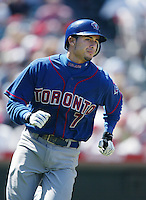 Felipe Lopez of the Toronto Blue Jays runs the bases during a 2002 MLB season game against the Los Angeles Angels at Angel Stadium, in Anaheim, California. (Larry Goren/Four Seam Images)
